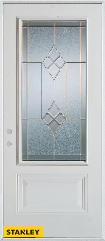 Porte dentrée en acier préfini blanc, munie d' un panneau et d'un 3/4 verre zinc, 32 po x 80 po -...