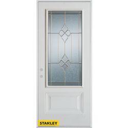 STANLEY Doors Porte dentrée en acier préfini blanc, munie d' un panneau et d'un 3/4 verre zinc, 32 po x 80 po - Droite - ENERGY STAR®