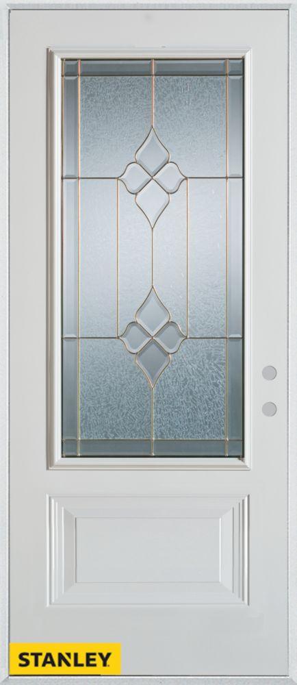 35.375 inch x 82.375 inch Beatrice Zinc 3/4 Lite 1-Panel Prefinished White Left-Hand Inswing Steel Prehung Front Door - ENERGY STAR®