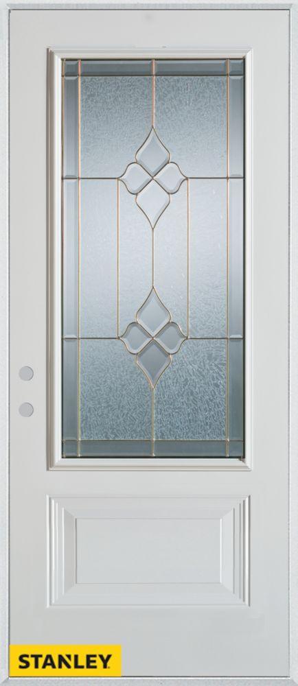 Porte dentrée en acier préfini blanc, munie d' un panneau et d'un 3/4 verre zinc, 34 po x 80 po -...