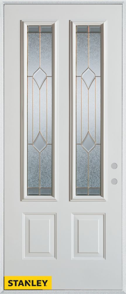33.375 inch x 82.375 inch Beatrice Brass 2-Lite 2-Panel Prefinished White Left-Hand Inswing Steel Prehung Front Door - ENERGY STAR®