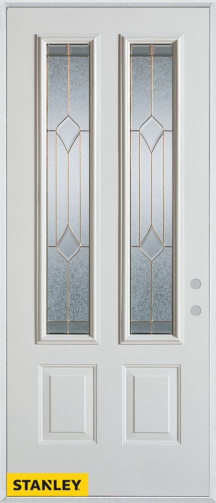 34-inch x 80-inch Geometric 2-Lite 2-Panel White Steel Entry Door with Left Inswing