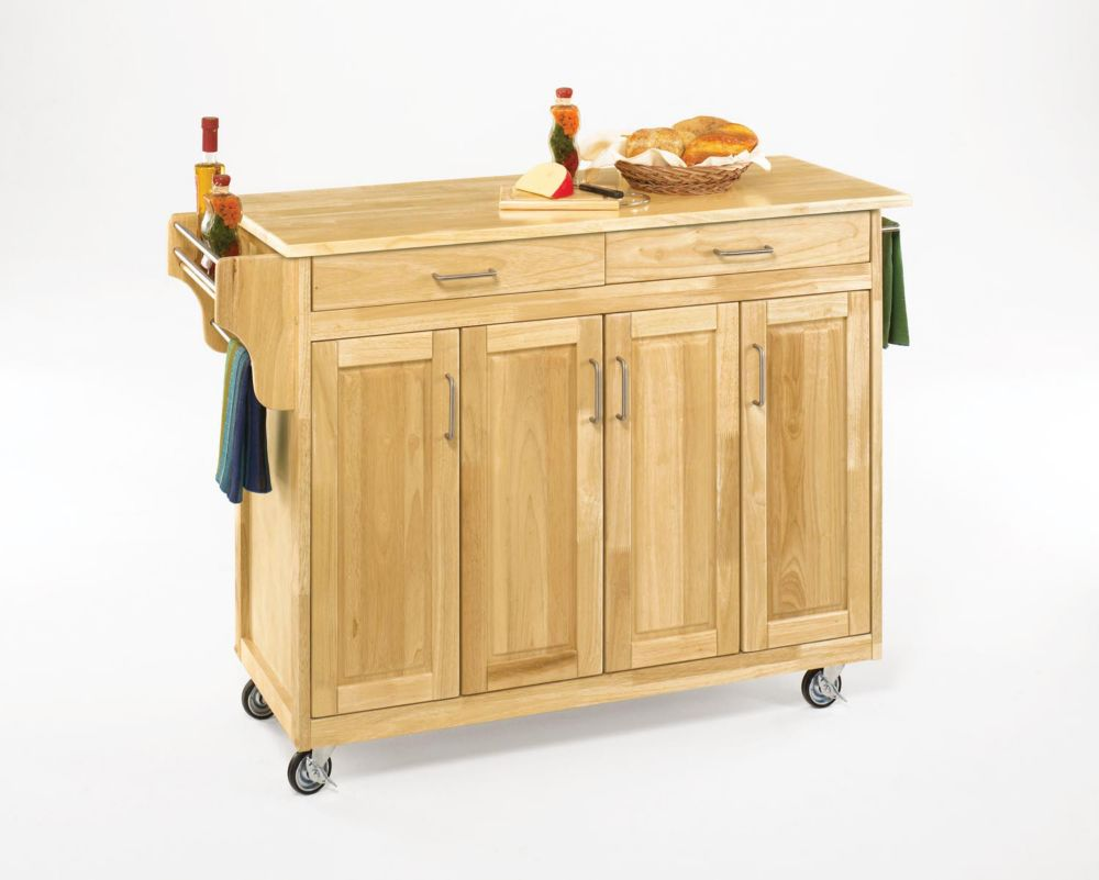 Create-a-Cart Natural Finish with Wood Top