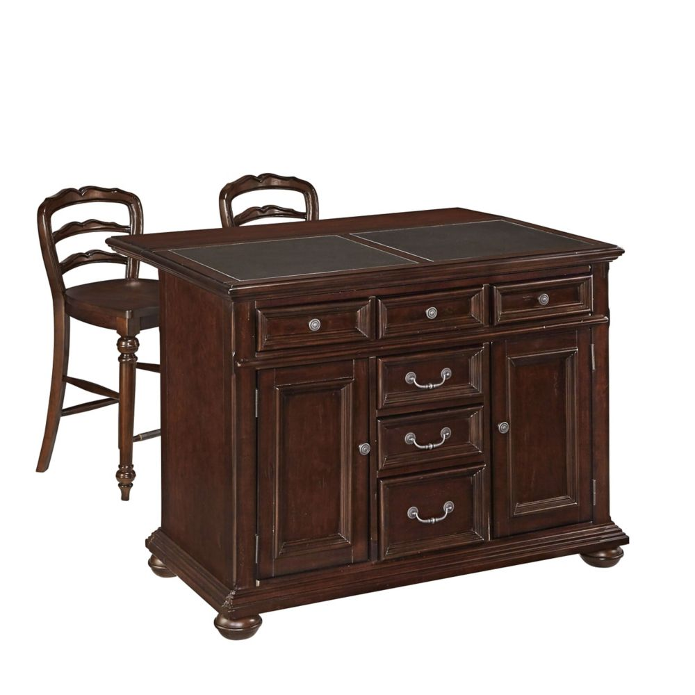 Colonial Classic Kitchen Island w/ Granite Top and Two Stools
