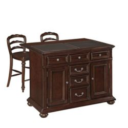Home Styles Colonial Classic Kitchen Island w/ Granite Top and Two Stools