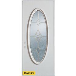 Stanley Doors Porte dentrée en acier préfini blanc, munie d'un panneau de verre ovale zinc, 32 po x 80 po - Droite - ENERGY STAR®