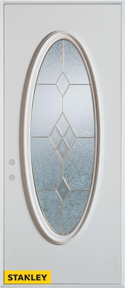 Porte dentrée en acier préfini blanc, munie d'un panneau de verre ovale patina, 36 po x 80 po - D...