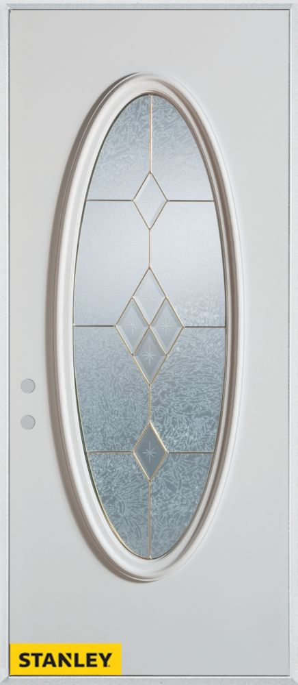36-inch x 80-inch Geometric Patina Oval Lite 2-Panel White Steel Entry Door with Right Inswing