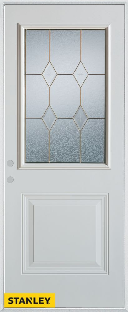 34-inch x 80-inch Geometric Zinc 1/2-Lite 1-Panel 2-Panel White Steel Entry Door with Right Inswi...