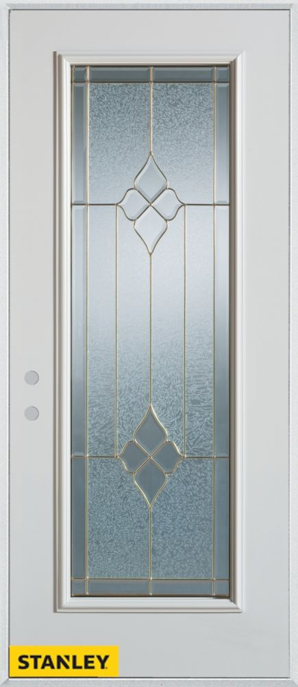 32-inch x 80-inch Geometric Zinc Full Lite White Steel Entry Door with Right Inswing
