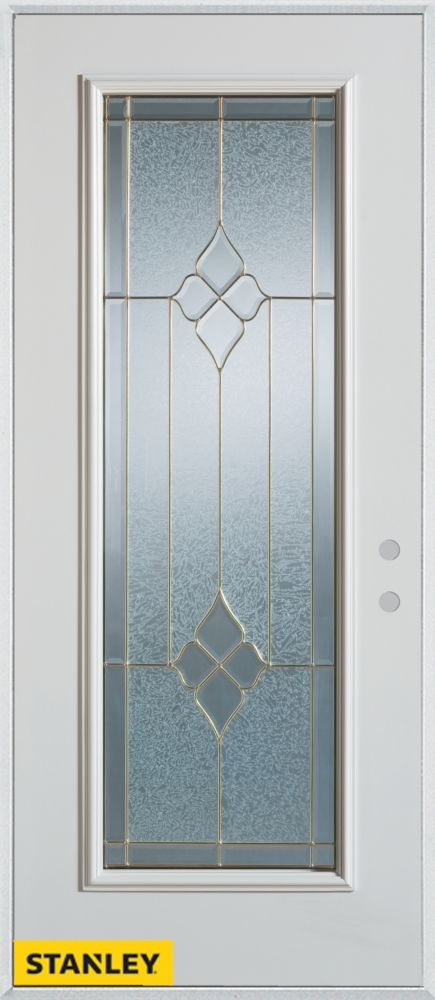36-inch x 80-inch Geometric Full Lite White Steel Entry Door with Left Inswing