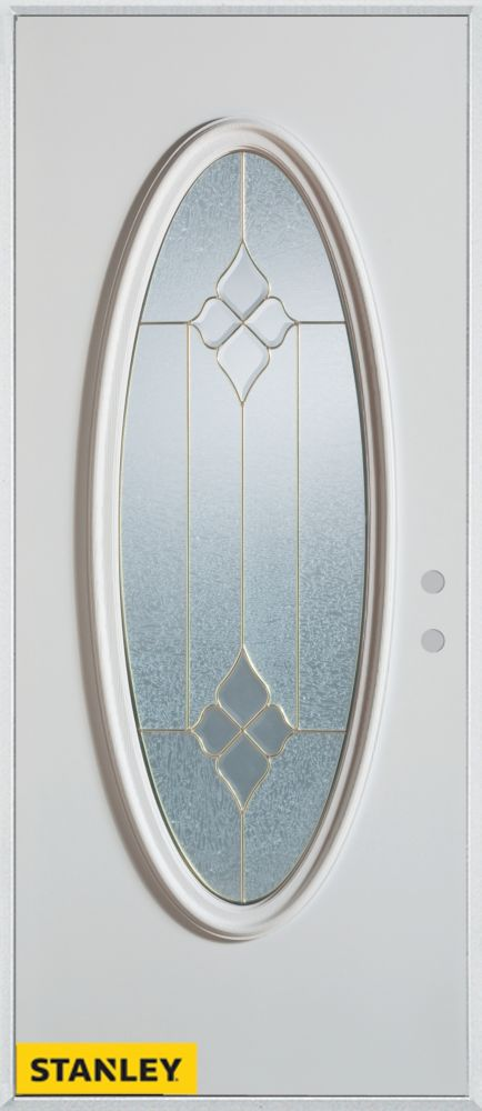 32-inch x 80-inch Geometric Zinc Oval Lite White Steel Entry Door with Left Inswing