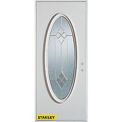 Stanley Doors Porte dentrée en acier préfini blanc, munie d'un verre ovale zinc, 32 po x 80 po - Gauche - ENERGY STAR®
