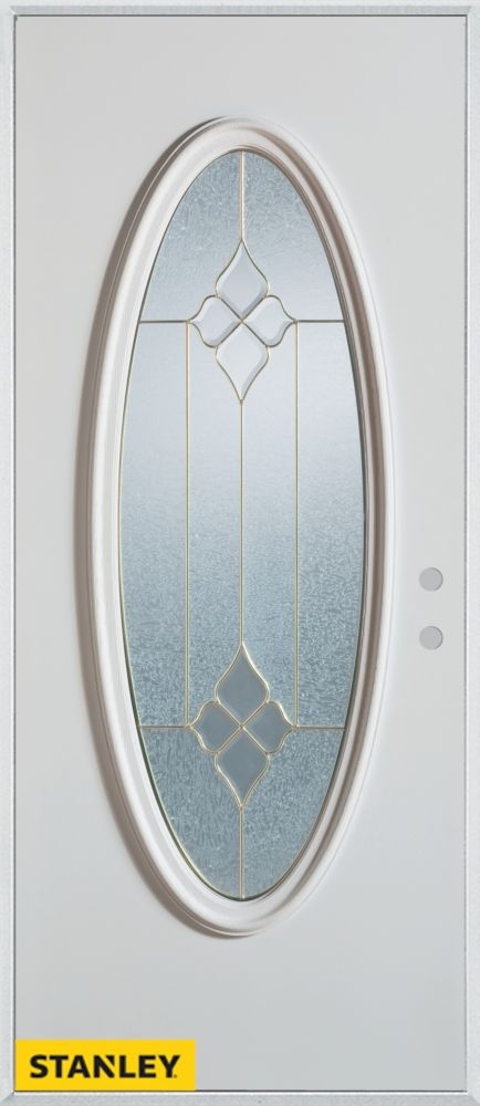 36-inch x 80-inch Geometric Zinc Oval Lite White Steel Entry Door with Left Inswing