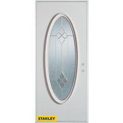 Stanley Doors Porte dentrée en acier préfini blanc, munie d'un verre ovale zinc, 36 po x 80 po - Gauche - ENERGY STAR®