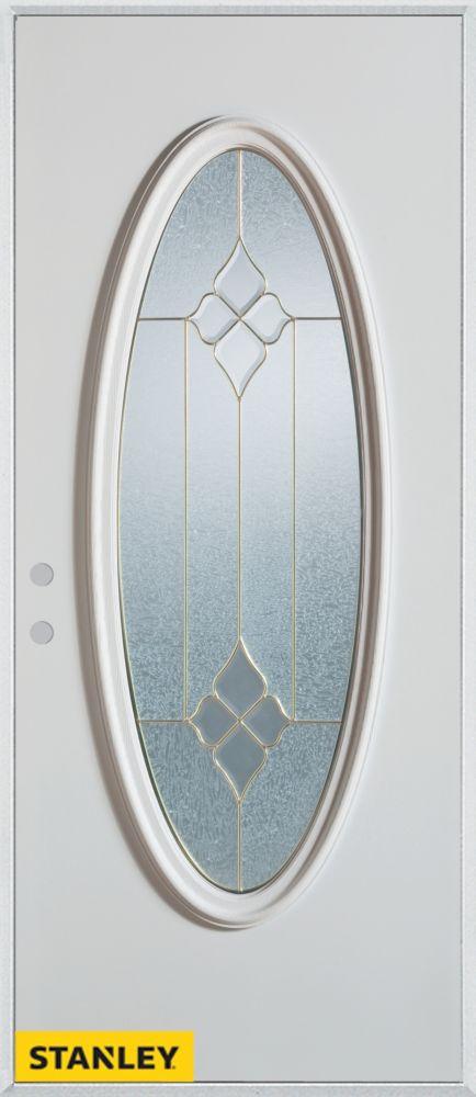 Porte dentrée en acier préfini blanc, munie d'un verre ovale, 36 po x 80 po - Droite