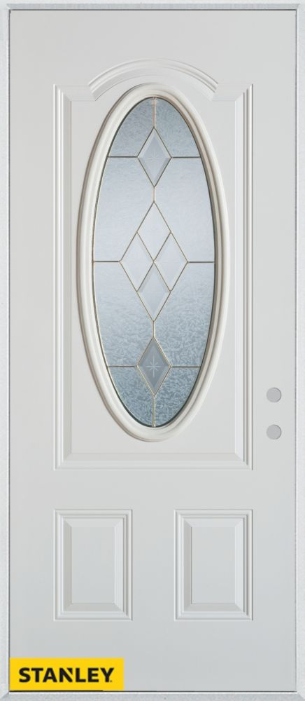 34-inch x 80-inch Geometric Zinc Oval Lite 2-Panel White Steel Entry Door with Left Inswing
