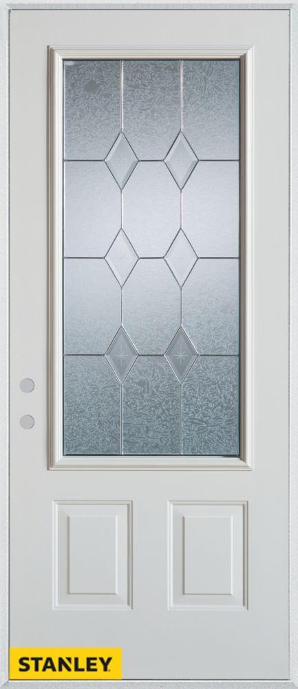 Porte dentrée en acier préfini blanc, munie de deux panneaux et d'un 3/4 verre zinc, 32 po x 80 p...