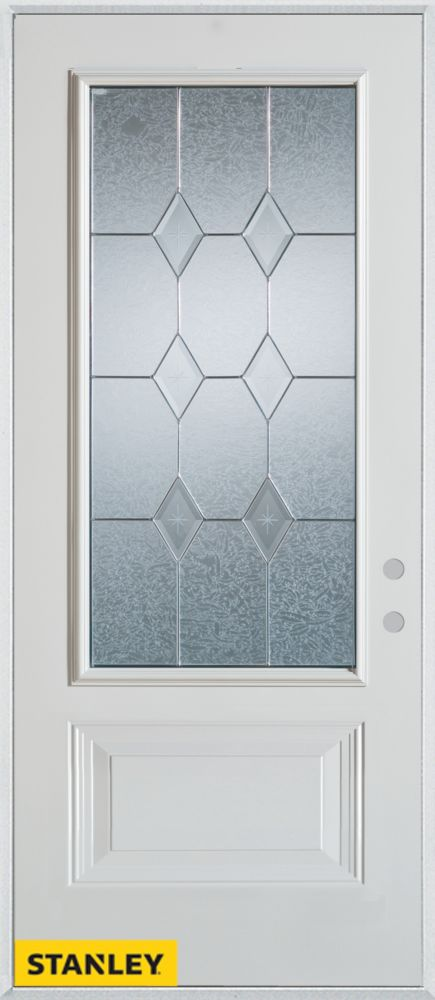 34-inch x 80-inch Geometric 3/4-Lite 1-Panel 2-Panel White Steel Entry Door with Left Inswing