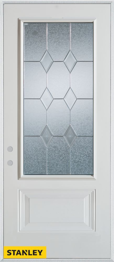 34-inch x 80-inch Geometric Zinc 3/4-Lite 1-Panel 2-Panel White Steel Entry Door with Right Inswi...