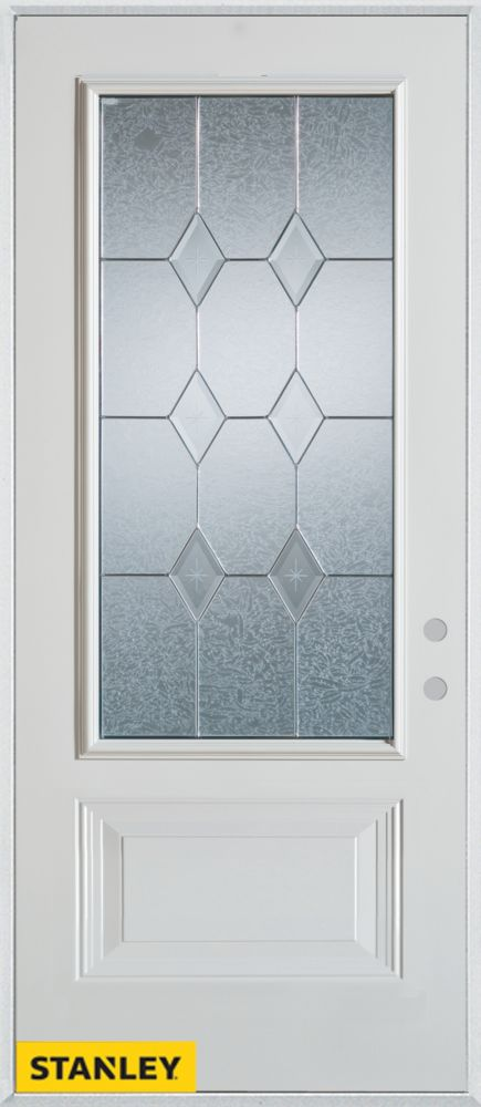 36-inch x 80-inch Geometric 3/4-Lite 1-Panel 2-Panel White Steel Entry Door with Left Inswing