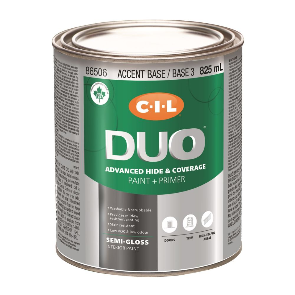 Peinture dintérieur CIL DUO fini semi-lustré - Base accent / Base 3, 825 mL