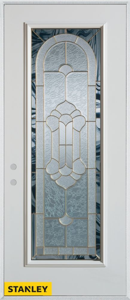 33.375 inch x 82.375 inch Radiance Brass Full Lite Prefinished White Right-Hand Inswing Steel Prehung Front Door - ENERGY STAR®