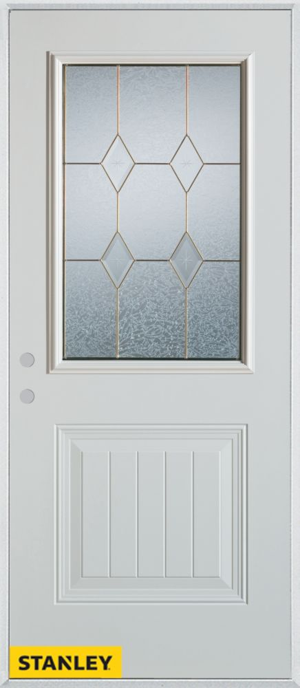 36-inch x 80-inch Geometric Zinc 1/2-Lite 1-Panel 2-Panel White Steel Entry Door with Right Inswi...
