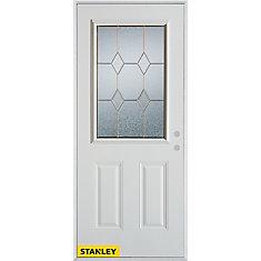 35.375 inch x 82.375 inch Tulip Zinc 1/2 Lite 2-Panel Prefinished White Left-Hand Inswing Steel Prehung Front Door - ENERGY STAR®