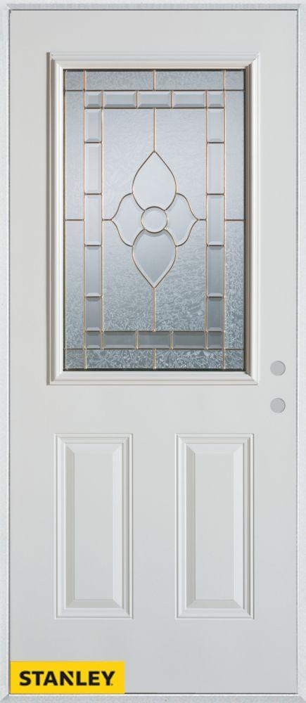 Porte dentrée en acier préfini blanc, munie de deux panneaux et d'un 1/2 verre patina, 34 po x 80...