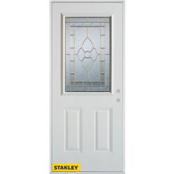 STANLEY Doors 37.375 inch x 82.375 inch Marguerite Zinc 1/2 Lite 2-Panel Prefinished White Left-Hand Inswing Steel Prehung Front Door - ENERGY STAR®