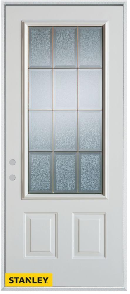 Porte dentrée en acier préfini blanc, munie de deux panneaux et dun 3/4 verre glue chip zinc, 32 ...