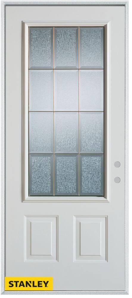 Porte dentrée en acier préfini blanc, munie de deux panneaux et dun 3/4 verre glue chip zinc, en ...
