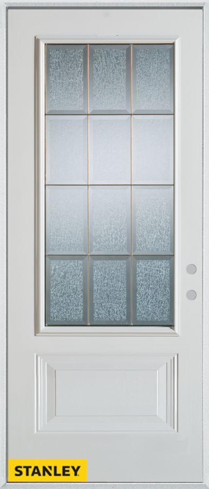 37.375 inch x 82.375 inch Diana Brass 3/4 Lite 1-Panel Prefinished White Left-Hand Inswing Steel Prehung Front Door - ENERGY STAR®