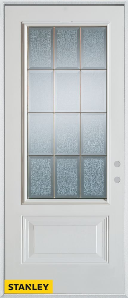 36-inch x 80-inch Geometric Glue Chip Zinc 3/4-Lite 1-Panel White Steel Entry Door with Left Insw...