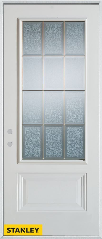 36-inch x 80-inch Geometric Glue Chip 3/4-Lite 1-Panel White Steel Entry Door with Right Inswing