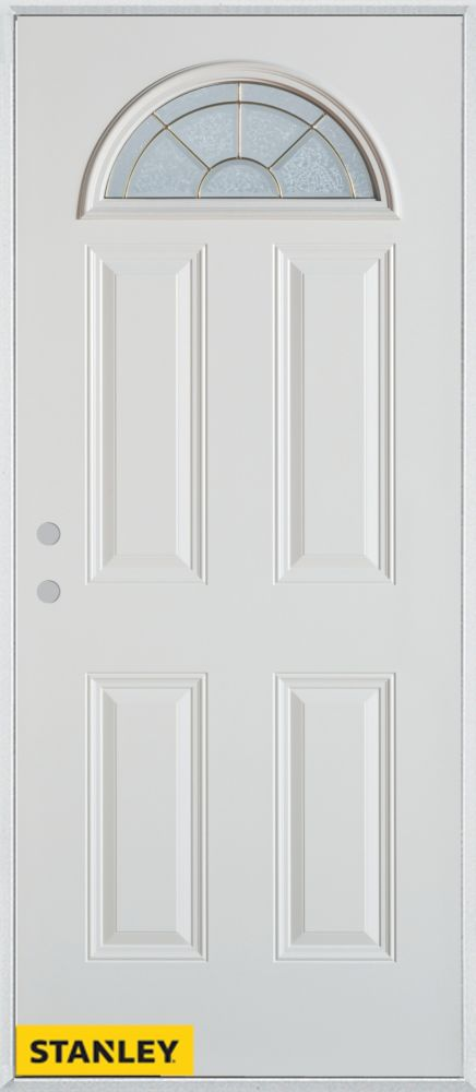32-inch x 80-inch Geometric Fan Lite 4-Panel White Steel Entry Door with Right Inswing