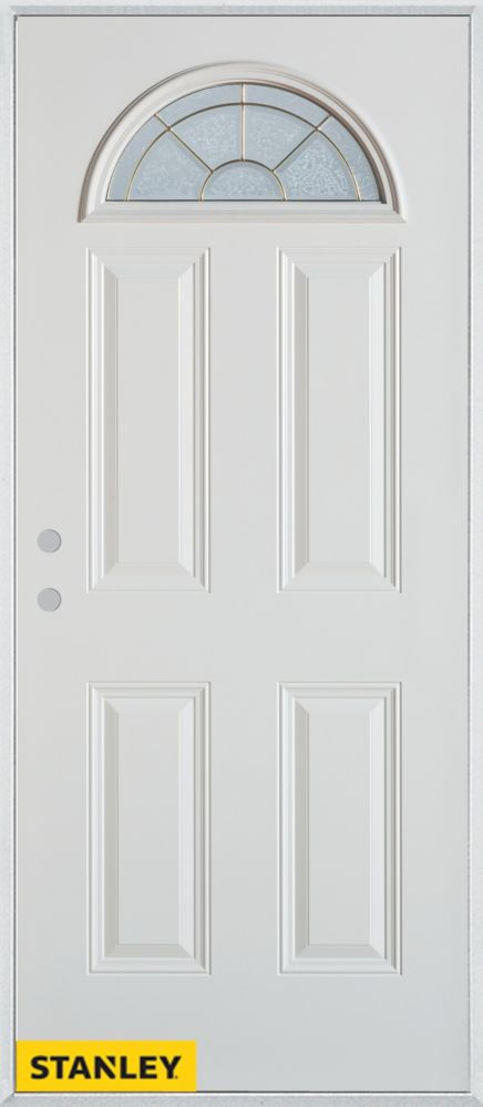32-inch x 80-inch Geometric Zinc Fan Lite 4-Panel White Steel Entry Door with Right Inswing