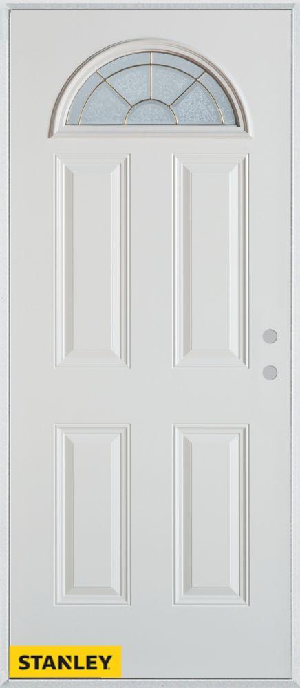 34-inch x 80-inch Geometric Fan Lite 4-Panel White Steel Entry Door with Left Inswing