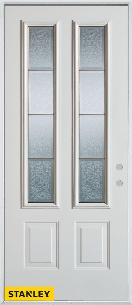 Porte dentrée en acier préfini blanc, munie de deux panneaux et de deux verre glue chips zinc, 36...