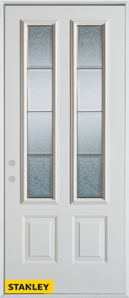 36-inch x 80-inch Geometric Glue Chip Zinc 2-Lite 2-Panel White Steel Entry Door with Right Inswi...