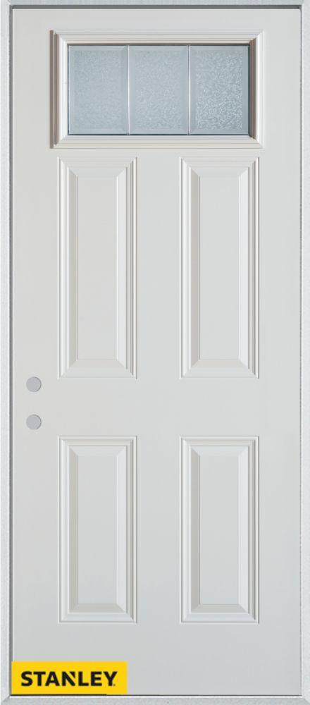 Porte dentrée en acier préfini blanc, munie de quatre panneaux et dun verre glue chip rectangulai...
