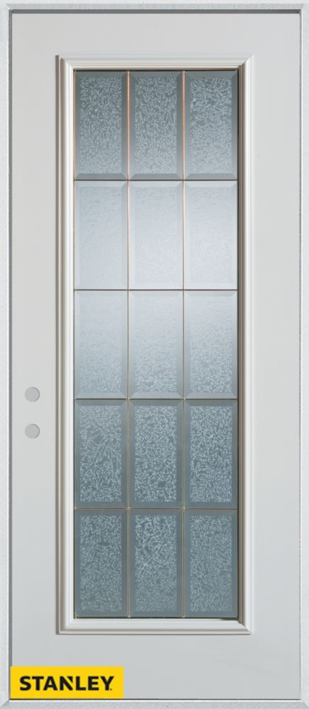 32-inch x 80-inch Geometric Glue Chip Full Lite White Steel Entry Door with Right Inswing