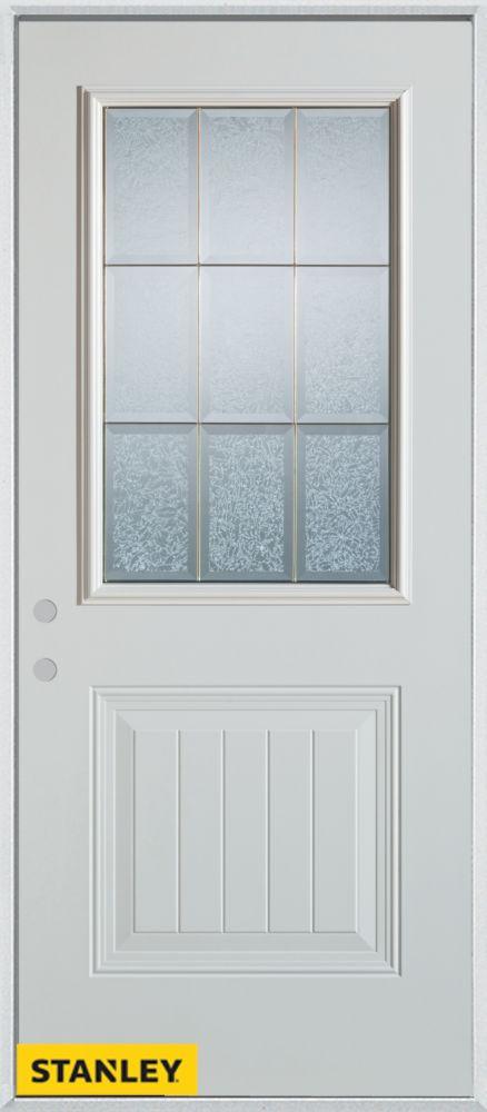 Porte dentrée en acier préfini blanc, munie d'un panneau et dun 1/2 verre glue chip zinc, 32 po x...