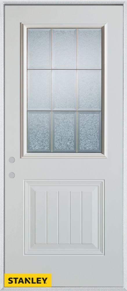 Porte dentrée en acier préfini blanc, munie d'un panneau et dun 1/2 verre glue chip zinc, 34 po x...