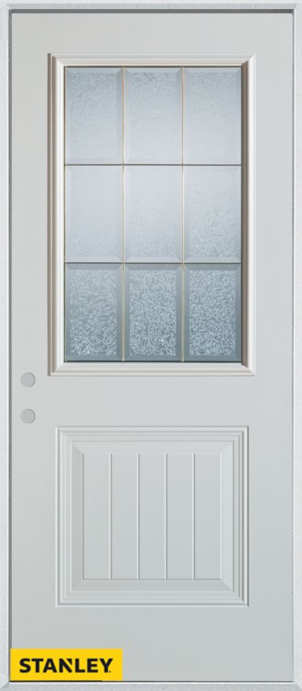 36-inch x 80-inch Geometric Glue Chip 1/2-Lite 1-Panel White Steel Entry Door with Right Inswing