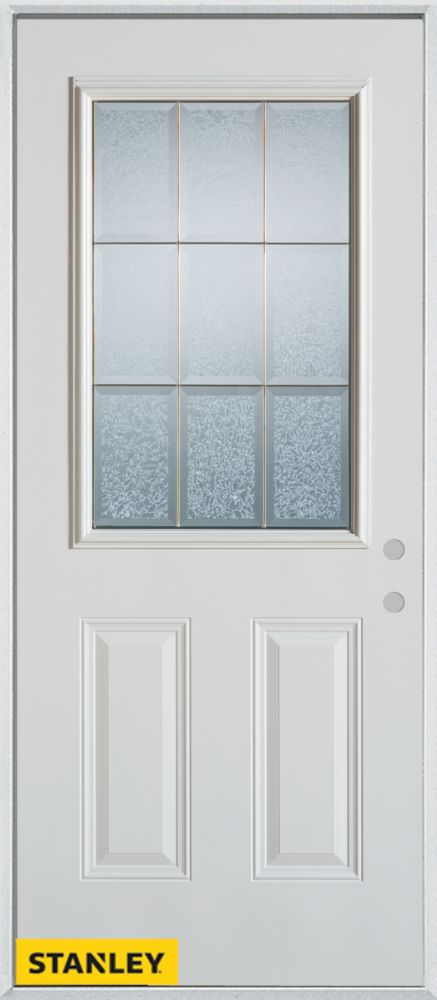 34-inch x 80-inch Geometric Glue Chip Zinc 1/2-Lite 2-Panel White Steel Entry Door with Left Insw...