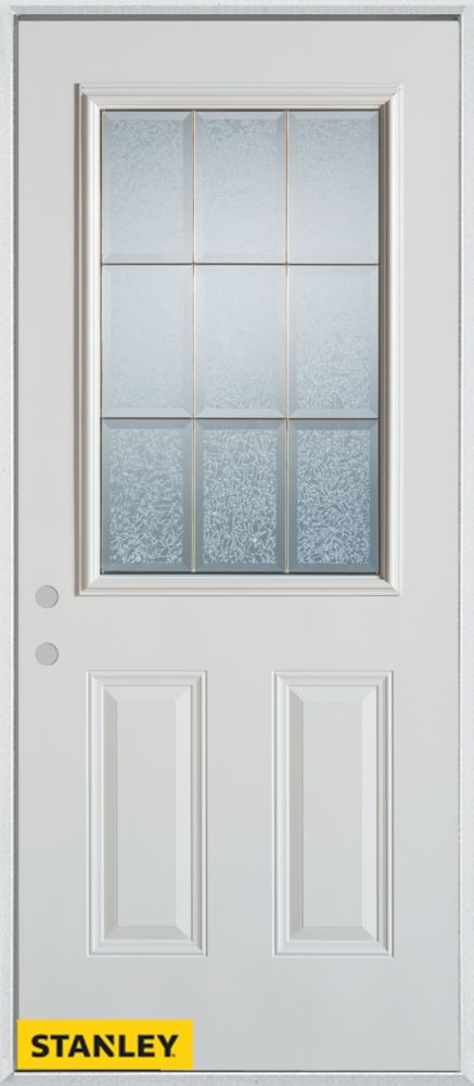 34-inch x 80-inch Geometric Glue Chip 1/2-Lite 2-Panel White Steel Entry Door with Right Inswing