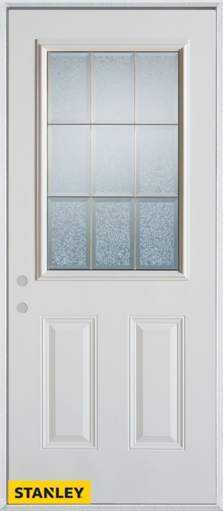 Porte dentrée en acier préfini blanc, munie de deux panneaux et dun 1/2 verre glue chip, 36 po x ...