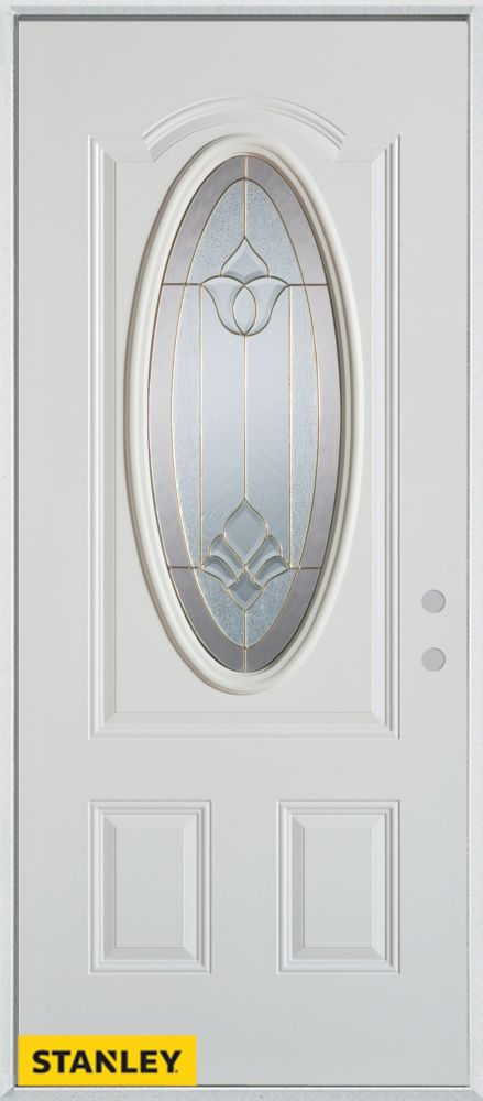 32-inch x 80-inch Traditional Oval Lite 2-Panel White Steel Entry Door with Left Inswing
